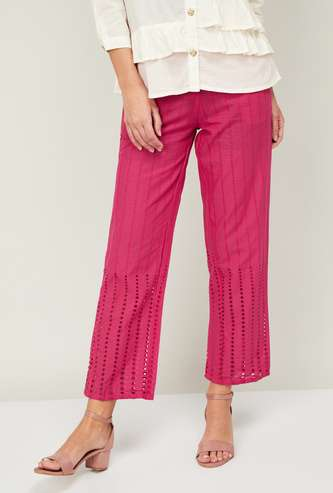 DE MOZA Women Schiffli Detail Elasticated Straight Pants
