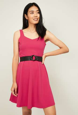 GINGER Women Solid Fit & Flare Dress