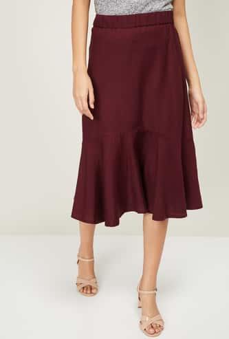 CODE Women Solid Trumpet Skirt