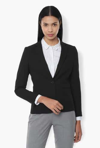 VAN HEUSEN Solid Full Sleeves Blazer