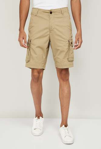 FAHRENHEIT Men Solid Regular Fit Cargo Shorts