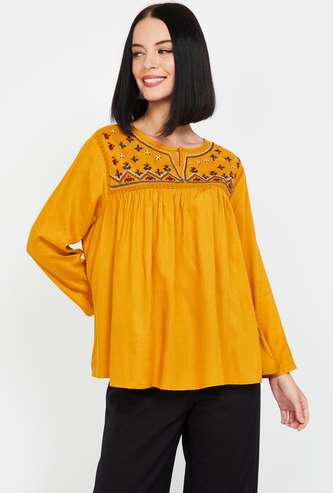 GLOBAL DESI Women Embroidered Full Sleeves Top