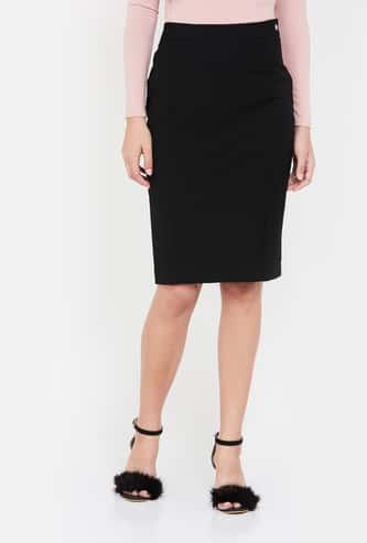 VAN HEUSEN Solid Pencil Skirt