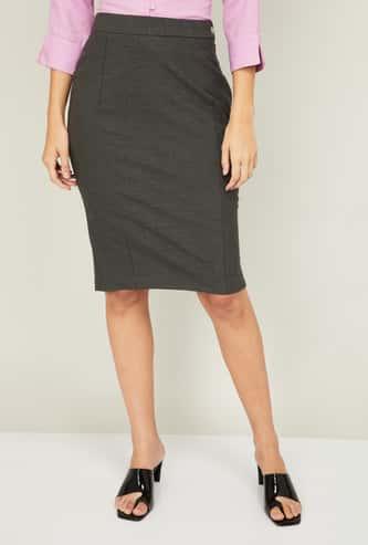 VAN HEUSEN Women Solid Formal Skirt