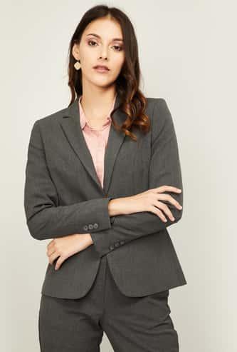 VAN HEUSEN Women Solid Full Sleeves Blazer