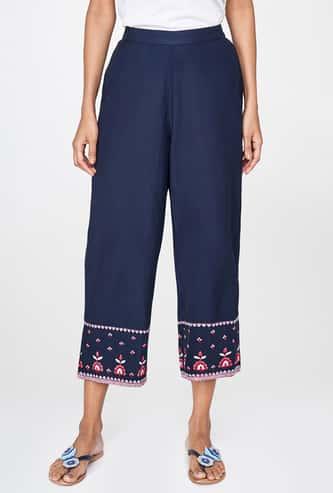 GLOBAL DESI Embroidered Elasticated Straight Pants