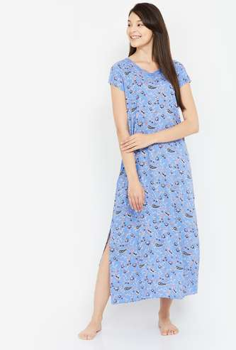 GINGER Women Floral Print Night Dress