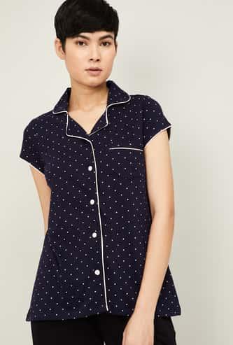 GINGER Women Printed Collared Lounge Shirt