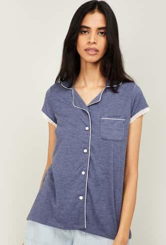 GINGER Women Textured Short Sleeves Top