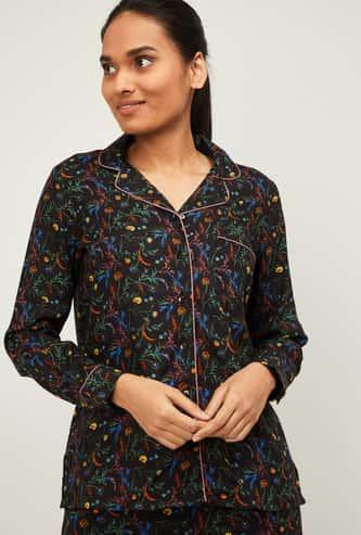 GINGER Women Printed Full Sleeves Sleepwear Shirt