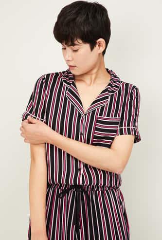 GINGER Women Striped Collared Lounge Shirt