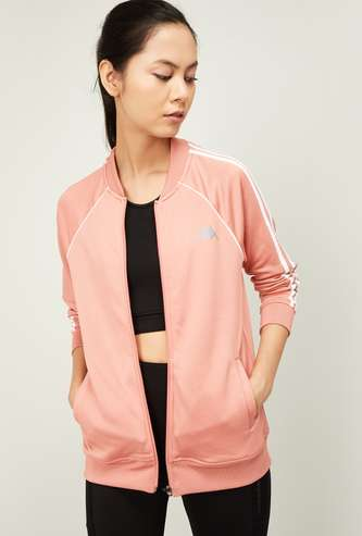 KAPPA Women Solid Sports Jacket with Raglan Sleeves