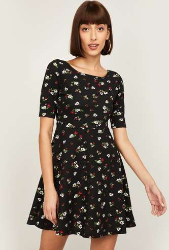 GINGER Women Printed Fit & Flare Dress