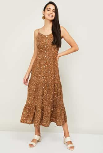 GINGER Women Printed Midi Dress