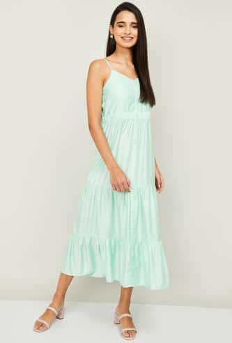 GINGER Women Solid Midi Dress