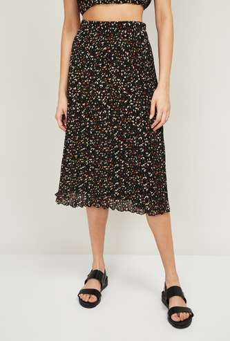 GINGER Women Floral Printed A-line Midi Skirt