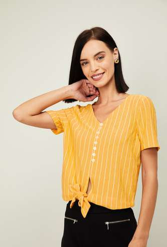 GINGER Women Striped Tie-Up Neck Top