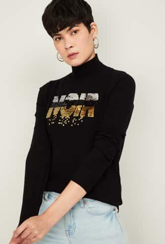 GINGER Women Sequinned High-Neck Sweatshirt