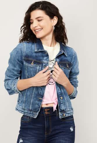 FAME FOREVER Women Dark-Washed Denim Jacket