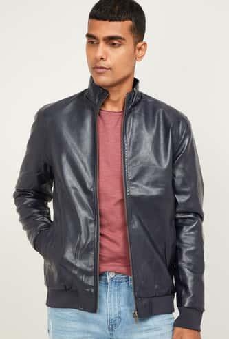 CODE Men Textured Biker Jacket
