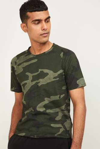 FORCA Men Camouflage Print Regular Fit Crew Neck T-shirt