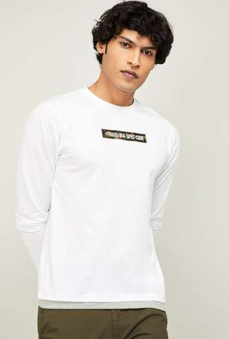 BOSSINI Men Typographic Print Full Sleeves Regular Fit T-shirt