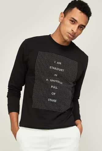 FAME FOREVER Men Typographic Print Full Sleeves Sweatshirt