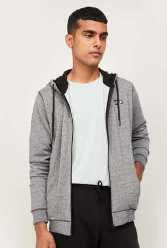UCLA Men Textured Hooded Zip-Closure Sweatshirt