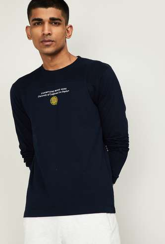 UCLA Men Typographic Print Regular Fit T-shirt with Long Sleeves