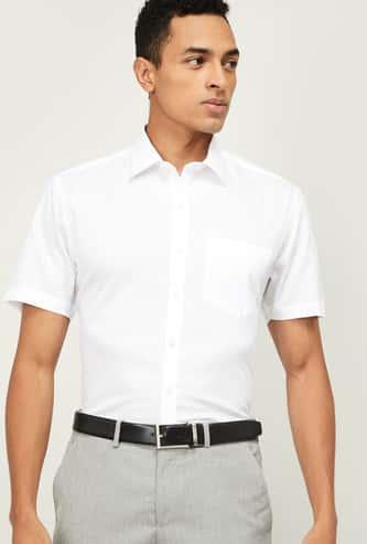 CODE Men Solid Regular Fit Formal Shirt with Short Sleeves
