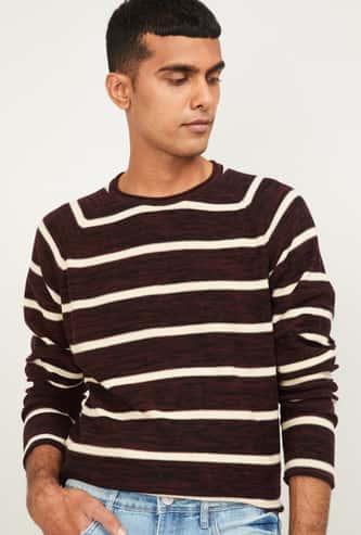 CODE Men Striped Sweatshirt with full Sleeves