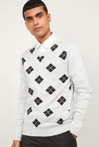 CODE Men Checked V-neck Sweater