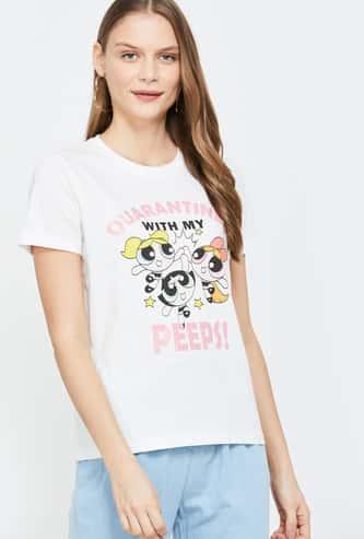 GINGER Women Printed Short Sleeves Regular Fit T-shirt