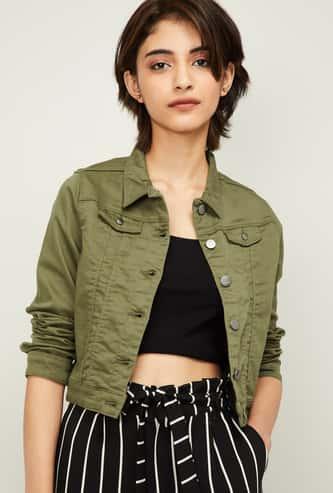 KRAUS Women Solid Full Sleeves Denim Jacket