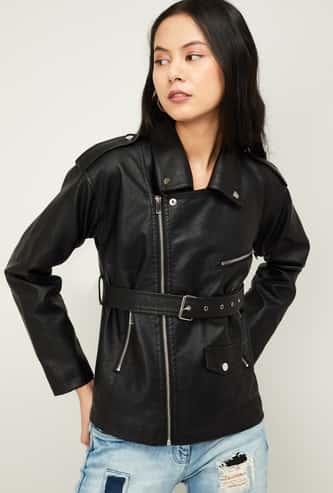 GINGER Women Textured Biker Jacket with Zip Pockets