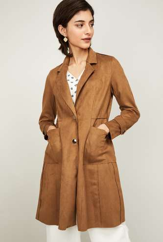 CODE Women Textured Jacket with Notched Lapel