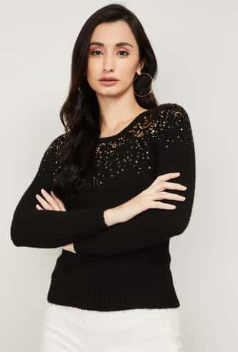 CODE Women Embellished Round Neck Sweater
