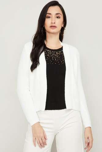 CODE Women Solid Open-Front Sweater