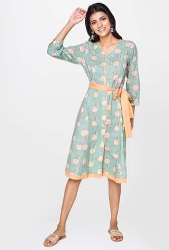 GLOBAL DESI Women Floral Print Three-quarter Sleeves A-line Dress