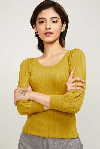 CODE Women Patterned Knit Round-Neck Pullover