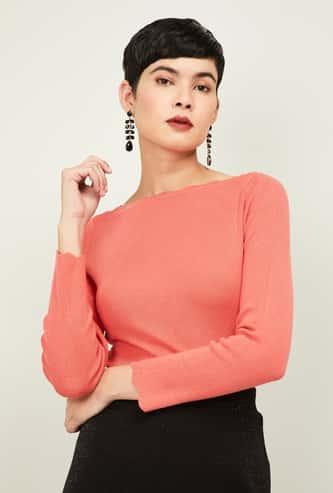 CODE Women Textured Full Sleeves Top