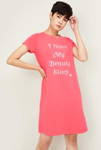GINGER Women Printed Round Neck Lounge Dress