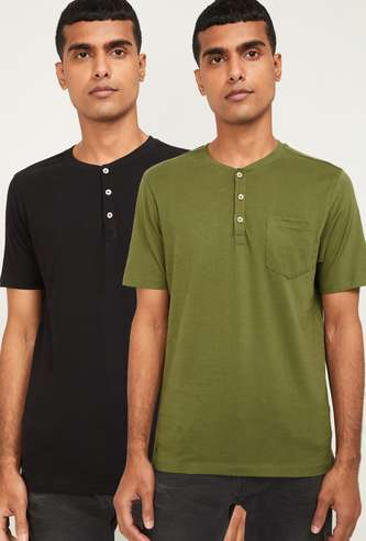 FORCA Men Solid Regular Fit Henley T-shirts - Pack of 2