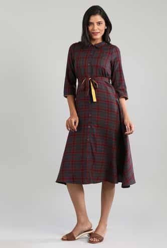 AURELIA Women Checkered Shirt Dress