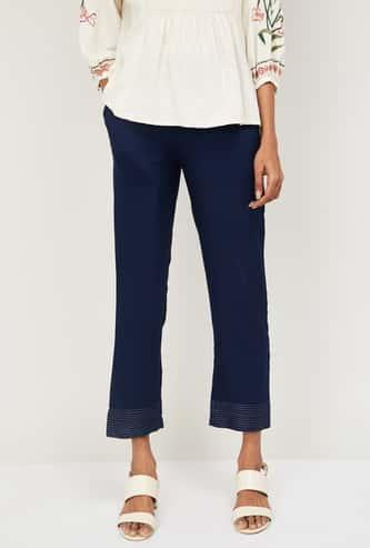 AURELIA Women Solid Elasticated Straight Pants