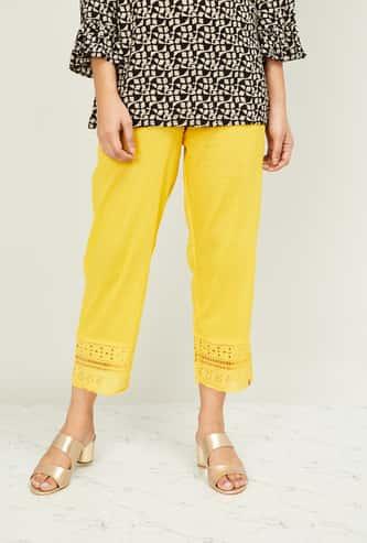 BIBA Women Schiffli Embroidery Cropped Straight Pants