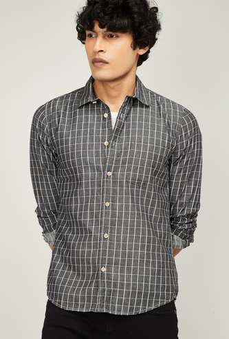 FORCA Men Checked Full Sleeves Slim Fit Casual Shirt