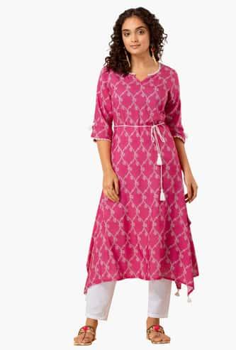 INDYA Women Printed A-line Kurta with Tasselled Tie-Up