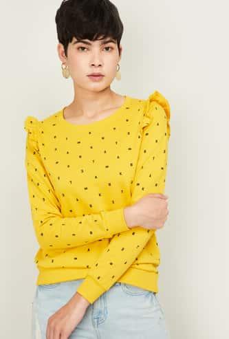 FAME FOREVER Women Printed Crew Neck Sweatshirt