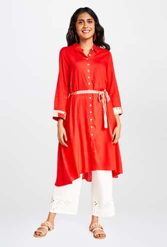 GLOBAL DESI Women Solid High-Neck Shirt Kurta